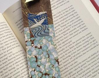 Crane Bookmark (gold blue brown)