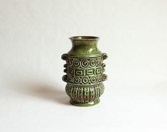 Vintage, Large Carstens Austria, Green Terracotta Vase, 1960s/1970s