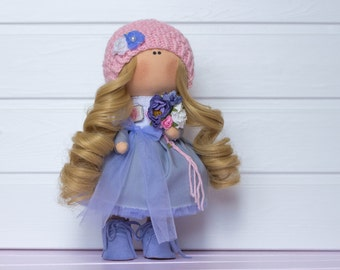 Handmade interior doll - Harriet, a girl with a bouquet. Textile fabric rag collectible doll, present, gift. Home decoration. UNIQUE item.