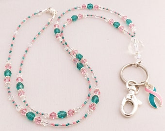 BRCA Awareness Handcrafted Beaded Lanyard