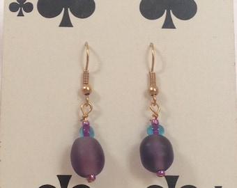 Purple Glass Beaded Earrings, Glass Beaded Earrings, Purple Earrings, Unique Earrings, Beaded Earrings