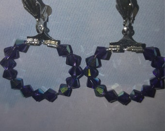 Purple AB Swarovski Crystal Hoop Earrings