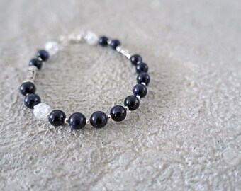 Midnight Galaxy Blue Goldtone Beaded Bracelet