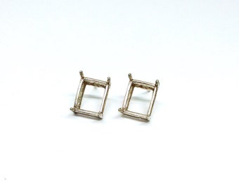 Two Earring Settings, Solid 925 Sterling Silver, Rectangle Setting, 9.5x6.3mm, Stone Setting, Crystal Setting, Blank Earring, Earstud,PC9100