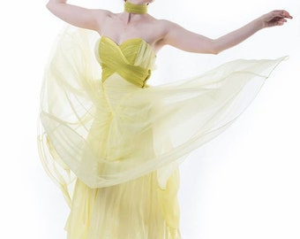 Showstopper 1950s debutante tulle dress in lemon and chartreuse