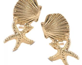 Seashell and starfish earrings