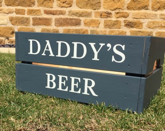 Wooden crate painted dark grey with 'Daddy's Beer' message, beer gift for dad, daddy FATHER'S DAY GIFT