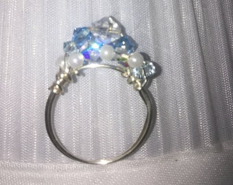Blue Swarovski Mermaid Ring
