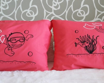 13R-  Do you Dive with me ? Bed Pillow Cases / Covers