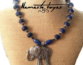 Necklace lapis lazuli and Indian elephant