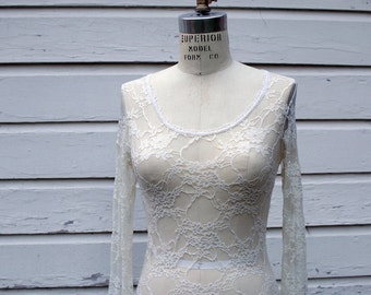 Clearance !  Sheer Lace Form Fitting White Blouse