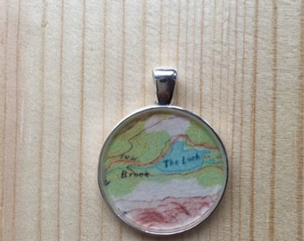Rocky Mountain National Park Map Pendant, silver-style (1-inch)