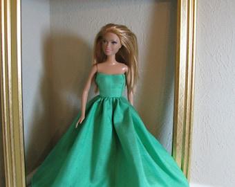 Barbie Doll Clothes - Green Silk Dress