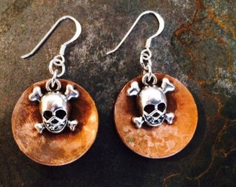 Small Crossbone Skull Copper Dome Earrings