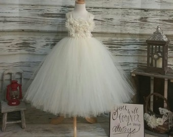 Custom Made Ivory Tutu Dress ,Tutu Dress for Flower Girls- Available in Sizes Newborn  to 14 years old