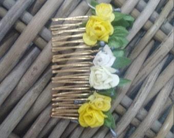 Romantic Hair Comb, Wedding Hair Comb,Yellow&White Hair Comb, Wedding Hair Accessories, Floral Bridal Headpiece