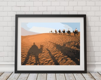 LARGE SIZE Vibrant Camel Print, Desert Print / Camel Poster / Desert Poster / Big Poster / Large Poster / Big Print / Large Print / Desert