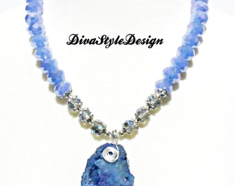 Baby Blue Crystal Necklace with Blue Druzy Pendant