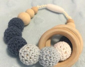 Navy Teething and Nursing Bracelet With Rings