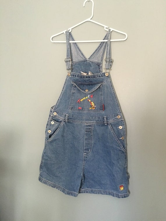 Vintage TWEETY BIRD Embroidered Overalls // Denim Shortalls // Authentic Looney Tunes Product // Funky 90s Jean Overalls // Medium Wash