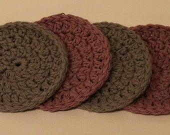Handmade Crocheted Purple & Gray Coasters - Set of 4