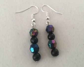 Black and multicoloured beaded earrings.