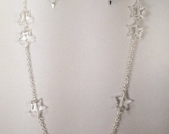 Clear Acrylic Star Neclace and Earring Set