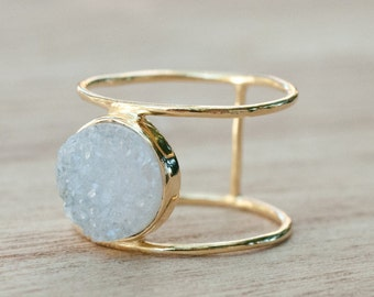 Druzy Ring * Gold Ring * Statement Ring *Gemstone Ring * White Druzy Ring *Labradorite * Aqua Chalcedony *Natural Druzy *Organic Ring*BJR043