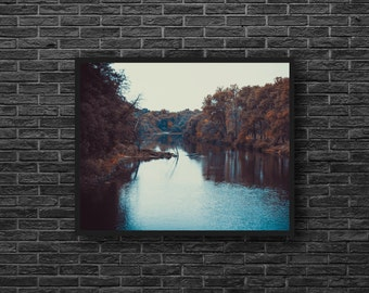 Forest River Photography - Autumn River Print - Fall Landscape - Forest Wall Decor - Forest Photo - River Landscape Photo - Fall Wall Decor