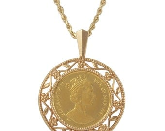24k Yellow Gold Elizabeth II Coin with 14k Yellow Gold Decorated Frame Pendant Necklace (19 Inches)