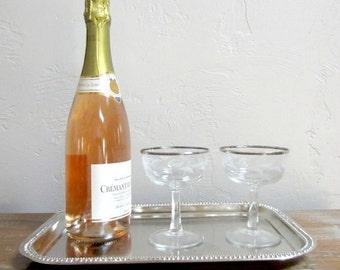 Champagne Glasses, Toasting Glasses, Coupe Glasses, Cocktail Glasses, Wedding Glasses, Mid Century Barware, Dorothy Thorpe Glasses Pair