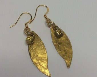 Hammered Brass Leaves with Swarovski boxed cubes
