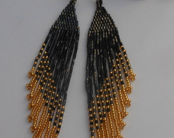 Black boho earrings Extra long earrings Beaded earrings Black earrings Boho earrings Beadwork Jewelry earrings Weaving beads Earrings