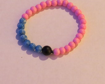 Pink and Blue with Onyx Beaded Bracelet