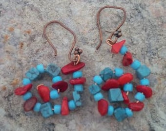Blue Turquoise and Red Coral