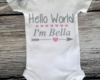 Hello World bodysuit, personalized bodysuit, baby shower gift, take home outfit, newborn outfit