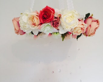 Floral mobile, Flower mobile, Nursery mobile, Baby mobile Wedding chandelier