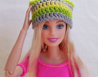 Colorful Barbie surf hat, yellow, green and gray slouchy hat