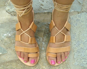 Leather sandals, Greek sandals, Lace up sandals, Handmade sandals, Greek leather sandals, Summer sandals, Womens sandals, Amaltheia sandals