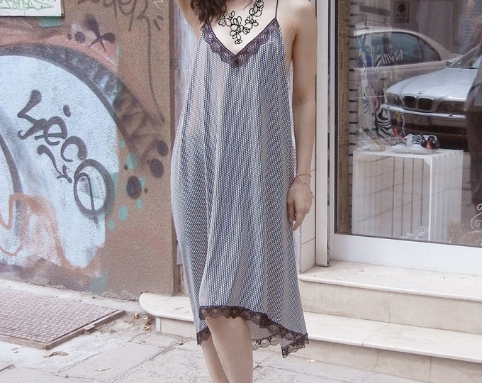 Party Elegant Loose dress / Open back Suspenders dress / Lace Avant Gard Evening Party dress / Clubwear / Evening Dress