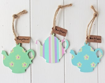 Sweet Hand Painted Hanging Wooden Teapots For Home