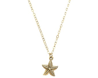 Starfish Charm Necklace / Silver or Gold