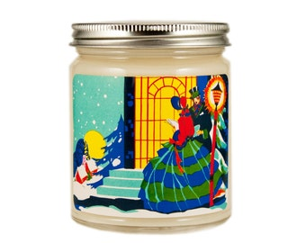 Art Deco Christmas Candle, Personalized Candle, Vintage Candle, Candle Gift, Soy Candle, Christmas Candle, Holiday Candle