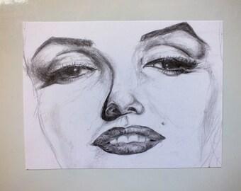 Marilyn Monroe Face Original Pencil Drawing