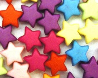 Bright Plastic Star Beads