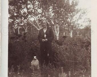 Vintage Photo - Woman Photo - Woman with dog - Garden - Vintage Snapshot - Polish Photo - Dog photo - 1930s photo - 1930s fashion