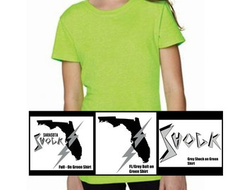 Youth Girl's SS Neon Green Tee: 3 Designs