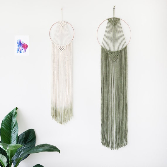 macrame hoops large macrame hoop wall hanging olive green copper metal 3836