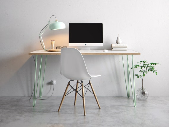 Hairpin desk and dining table white formica birch plywood for Plywood table hairpin legs