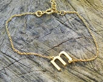 Lowercase Initial Bracelet, Tiny Jewelry, Personalized Gift, Personalized Bracelet, Bridesmaid Gift, Dainty Bracelet